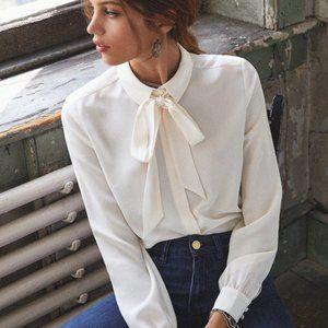 {sezane} big bow tie blouse